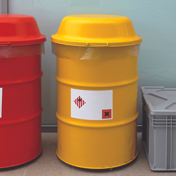 Selection of hazardous waste containers