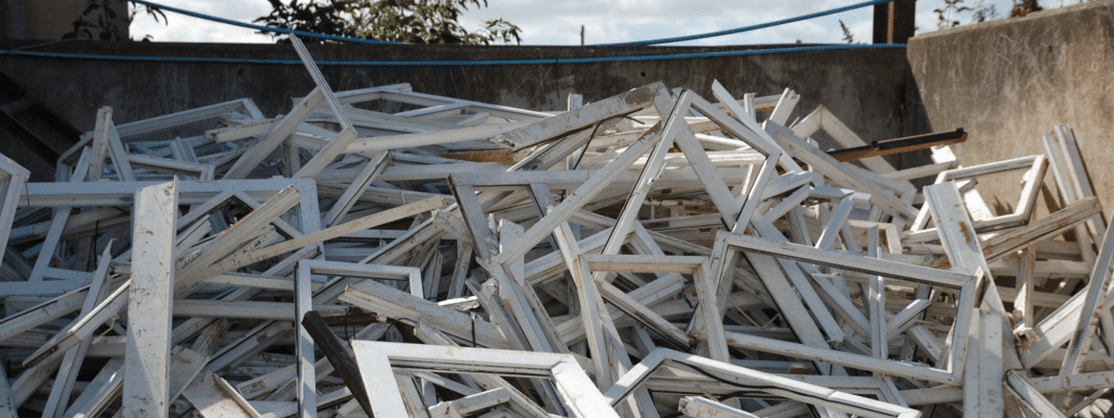 Upvc waste at Southwood Recycling Centre