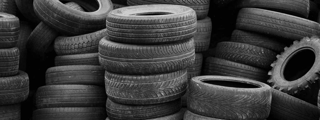 Waste tyres awaiting disposal
