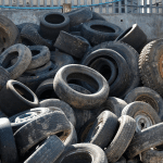 Waste tyres at Southwood Recycling Centre