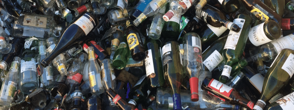 Bottle glass at Southwood Recycling Centre