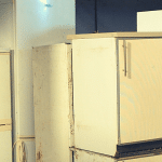 Fridge freezers at Southwood Recycling Centre in Somerset