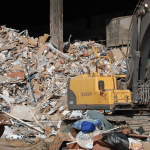 Site waste being tipped at Commercial Recycling