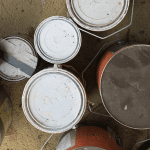 Old paint cans for disposal