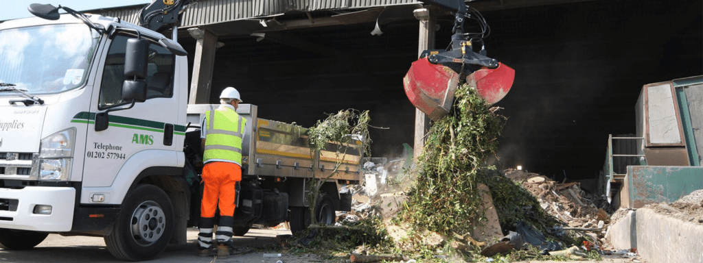 Garden waste being tipped at Canford Recycling Centre