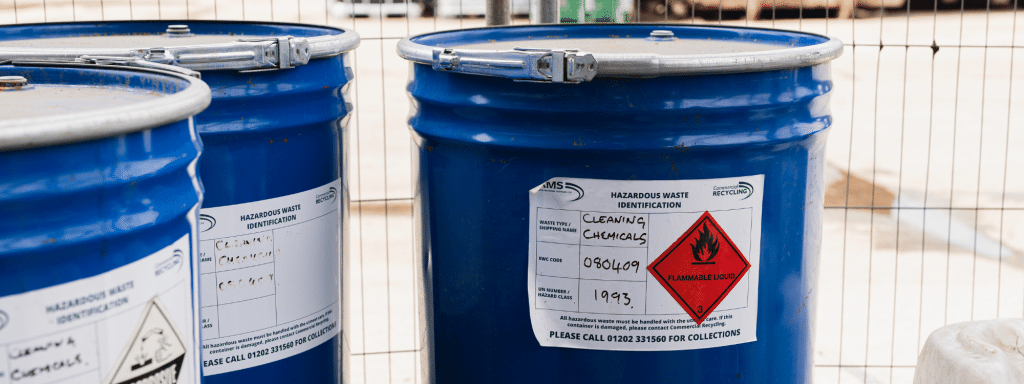 Cleaning chemical disposal site